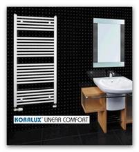 Koupelnový radiátor Koralux Linear Comfort šířky 600mm-rovný bílý