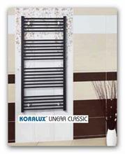 Koupelnový radiátor Koralux Linear Classic šířky 600mm-rovný bílý