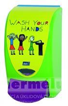 Plastový dávkovač mýdla PROLINE WASH YOUR HANDS 1L
