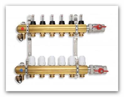Rozdělovač podlahového vytápění RZP03 s termostatickými ventily a regulačním šroubením s průtokoměry 3 okruhy