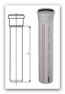 Trubka HTPP Plus s hrdlem DN 110x2,7/1000 mm pro vnitřní kanalizaci