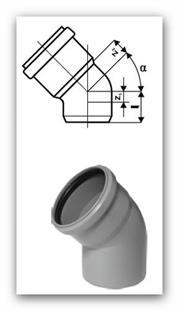 HTB Plus koleno 160/45° pro vnitřní kanalizaci