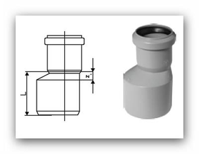 HTR Plus redukce nesouosá dlouhá DN 40/32 pro vnitřní kanalizaci
