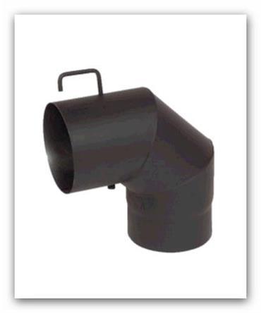 Koleno kouřovodu 90st.150x1,5mm černé s klapkou