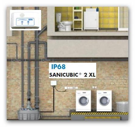 Centrální přečerpávací stanice SFA Sanibroy SANICUBIC 2 XL pro čerpání odpadních vod