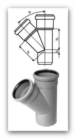 HTEA Plus odbočka DN 110/110mm 45° pro vnitřní kanalizaci