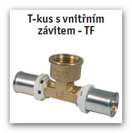 """T-kus s vnitřním závitem lisovací press FORNARA UNI-TF 16x2-1/2"""" na Pex-Al-Pex"""