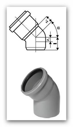 HTB Plus koleno 75/45° pro vnitřní kanalizaci