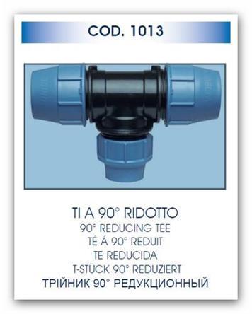 UNIDELTA T-kus redukovaný 90x75x90 UNI1013 pro polyethylenové trubky PE