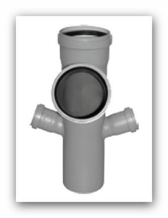 HTEP Plus rohová paneláková odbočka trojitá DN 110/110/50/50mm 67° pro vnitřní kanalizaci