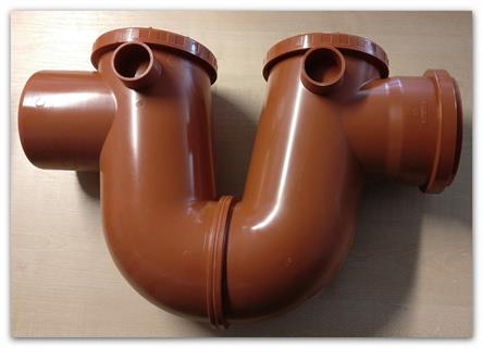 Protizápachový sifon DN 100 KG s čistícími otvory a ovzdušněním