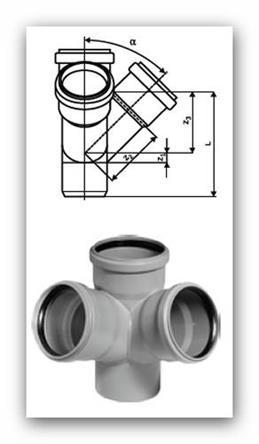 HTED Plus rohová dvojodbočka DN 110/110/110mm 45° pro vnitřní kanalizaci