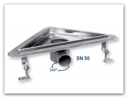 Rohový sprchový nerezový odtokový žlab KLASIK do prostoru ZYK0300