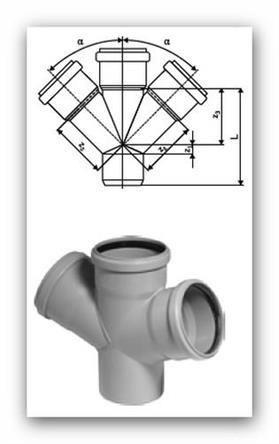 HTDA Plus dvojodbočka DN 75/75/75mm 67° pro vnitřní kanalizaci