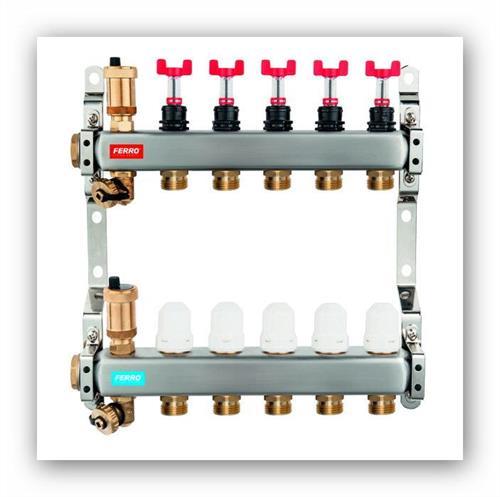 Nerezový rozdělovač podlahového vytápění SN-RZPU02S s uzavíracími ventily a regulačním šroubením s průtokoměry 2 okruhy