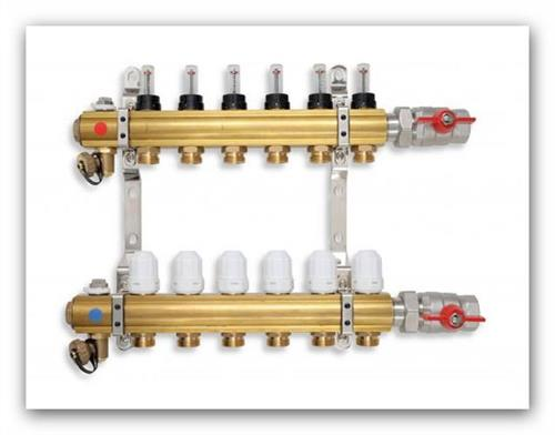 Rozdělovač podlahového vytápění RZP06 s termostatickými ventily a regulačním šroubením s průtokoměry 6 okruhů