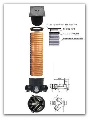 Kanalizační šachta rozvětvená WAVIN 400/160mm výška 1,5m s litinovým poklopem 12,5t