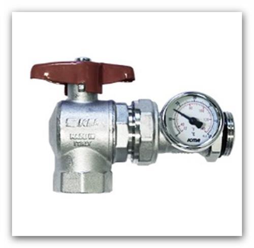 """Rohový kulový ventil 1"""" s teploměrem art.226 pro rozdělovač podlahového topení"""