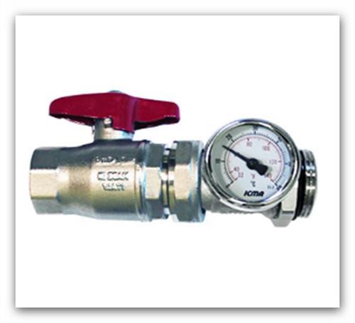 """Přímý kulový ventil 1"""" s teploměrem art.216 pro rozdělovač podlahového topení"""