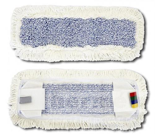Plochý mop mikrovlákno kapsový bílé okraje / modrý vnitřní pás 40cm s jazyky