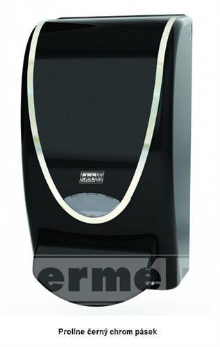 Plastový dávkovač mýdla PROLINE 1L černý chrom pásek