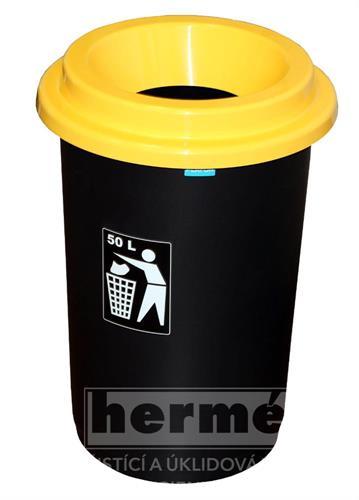 Koš EKO žluté víko 50l, plast 60 x 41,5cm