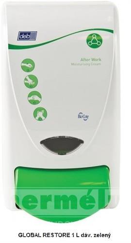 Plastový dávkovač regeneračního krému GLOBAL RESTORE 1L zelený