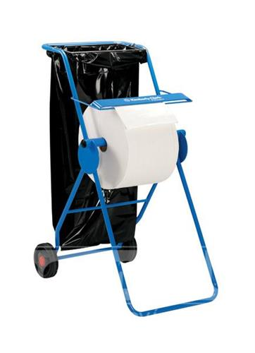 Pojízdný držák průmyslových utěrek s chromovým závěsem na pytel